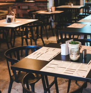 restaurant table with menus